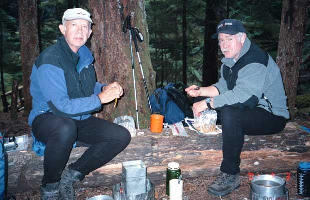 Dinner at a fine campsite near the Suiattle River ... another tasty meal of dehy rations