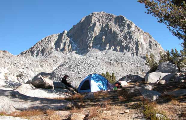 Our first camp in Dusy Basin - Columbine Peak behind