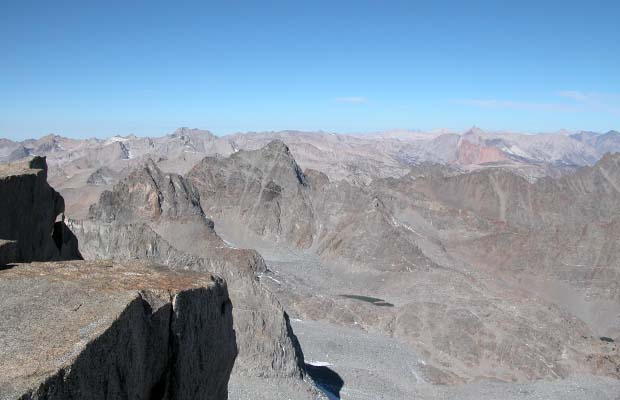 On the summit of Mt Sill looking over Palisade Glacier to Mt Winchell & Mt Agassiz