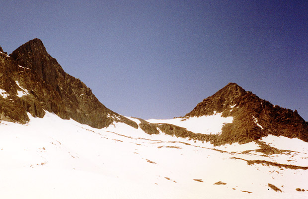 Looking north from Sill Glacier --Glacier Notch in center & Mt Gayley on right