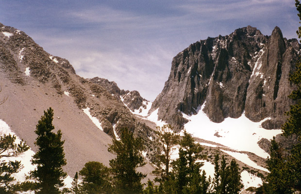 Temple Crag with Contact Pass in center -- as seen from Sam Mack Meadow