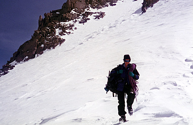 Sep. 1998: Lucy descending from Sill's North Couloir.  Swiss Arete behind.
