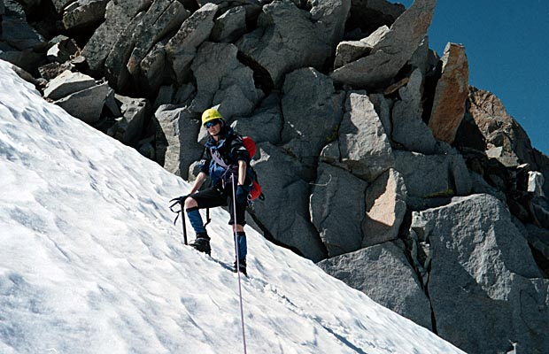 September 1998: Lucy leading the climb on Sill's North Couloir