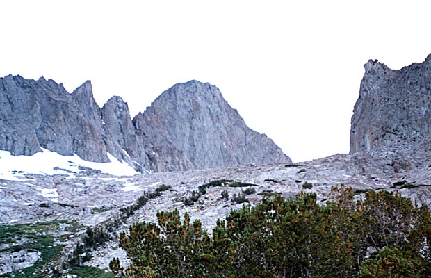 Oct. 1992: Looking at the east face of Mt Sill from the southern side of Contact Pass