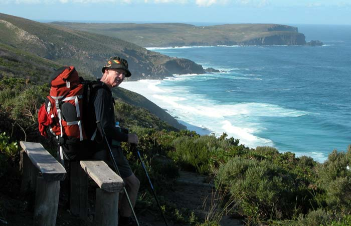 Mal resting on a handy seat with West Cape Howe behind