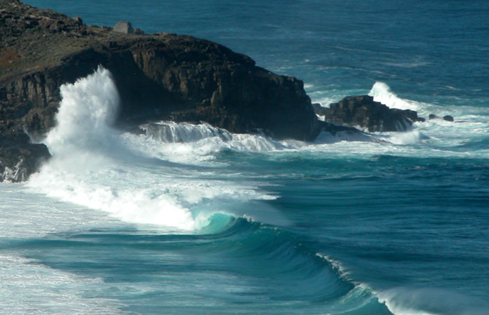 The rugged southern coastline on a calm sea day ... a low ocean swell running in from the Antarctic