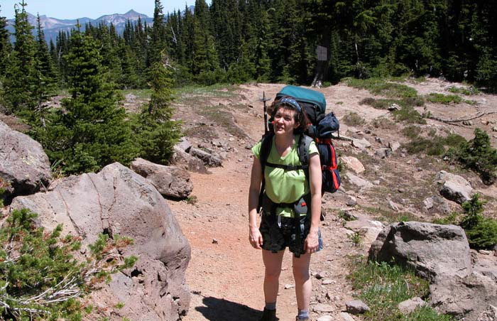 Lucy hiking the Pacific Crest Trail in the northern section of the Goat Rocks Wilderness