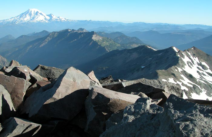 View from the summit of Old Snowy mountain (8,000 feet), looking north along the PCT ridge.