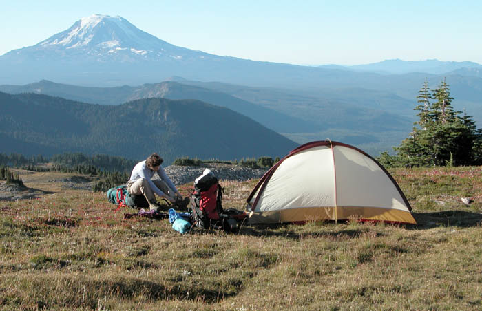 Our campsite at 6,800', with great views all round, including the shining peak of Mount Adams to the south
