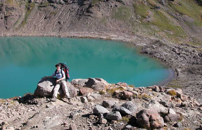 Goat Lake, situated in an old volcanic crater at around 6,500' ... a lake that remains frozen for much of the year.