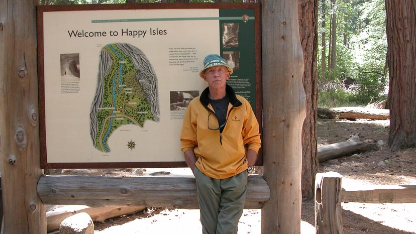 Peter at the Happy Isles terminus ,Yosemite Valley, of the John Muir Trail