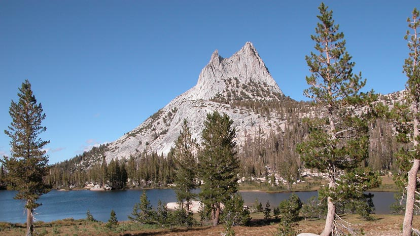 Cathedral Peak looming over the lake by the same name
