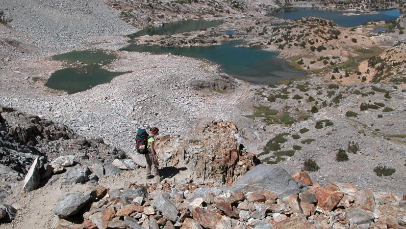 Descending the eastern side of Bishop Pass for resupply at South Lake