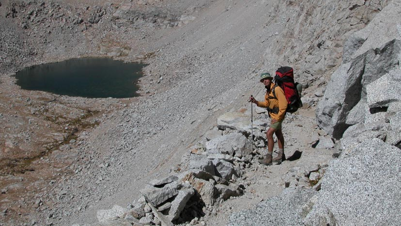 Peter descending the switchbacks on the southern side of Forester Pass
