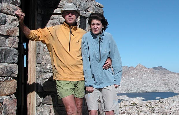 Peter and Lucy at Muir Hut on Muir Pass, 12,000'
