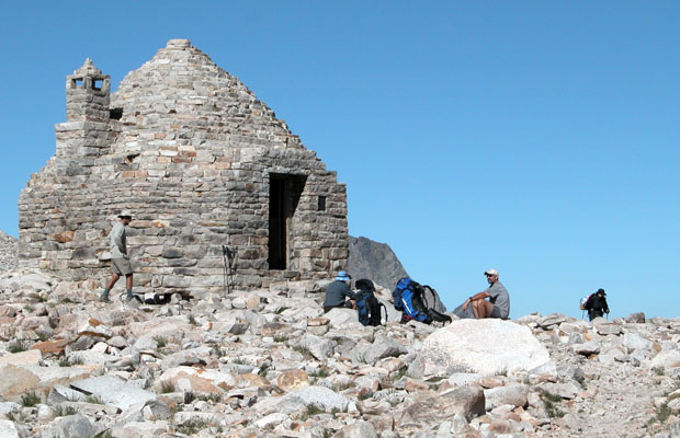 The busy rest stop for hikers at Muir Hut