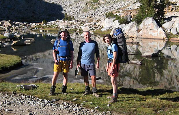Mal Hill, Mike Fox and Lucy at the upper Lyell Creek crossing