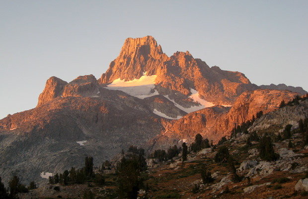 Banner Peak bathed in the early morning sun