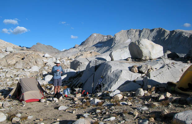 Our high, exposed campsite at Wanda Lake, 11,400'