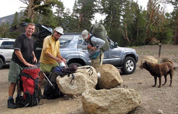 At Sonora Pass before heading south on the PCT:  Jim Keogh, Peter, Jim Slade & Ricky
