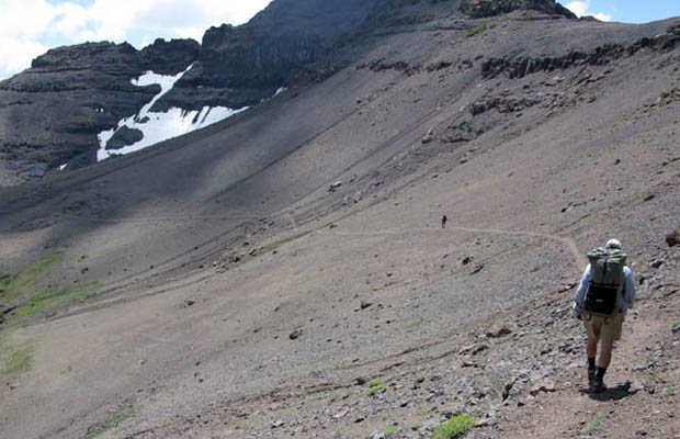 Hiking the PCT a few miles south of Sonora Pass ... a dry volcanic moonscape.