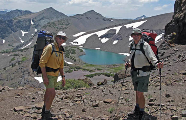 Peter and Jim K. with Latopie Lake below ... a 400' descent/climb to fetch water!