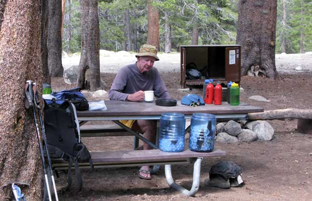 Mal resting at the Tuolumne backpackers' campground, sampling beer!