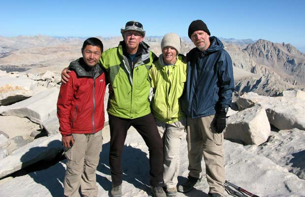 Peter standing on the summit of Mt. Whitney,14,495', with Kevin, Marty and Ross