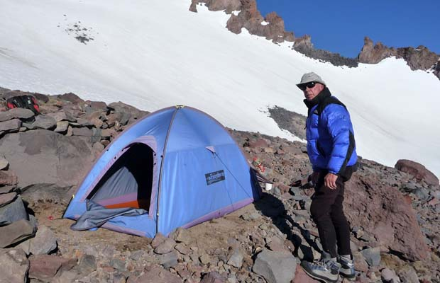 Our tent at 10,200' ... perched on the only flat dry spot at this elevation