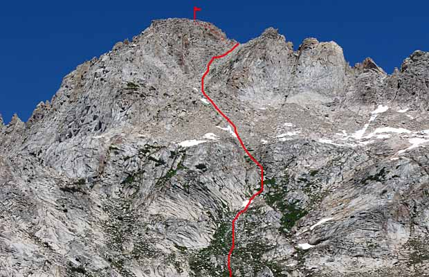 My route up the southwest face of Matterhorn Peak