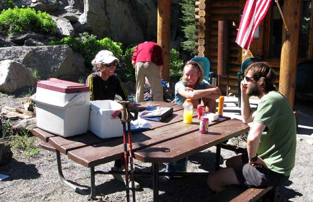 PCT thru-hikers at Carson Pass Information Center on Hwy 88