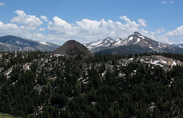 Looking south over Boulder Peak to Sonora and Stanislaus Peaks on the skyline