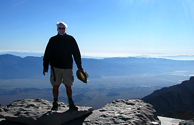 6 September: Mike standing on the 14,495' summit of Mt. Whitney