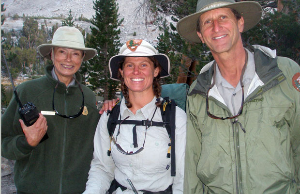 Ranger's Leslie Johnson, Rick Sanger and his wife Suzzette met near Bullfrog Lake