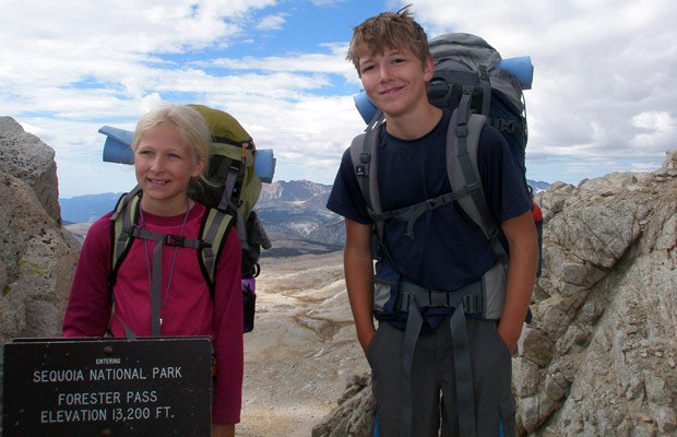 Young JMT thru-hikers on Forester Pass