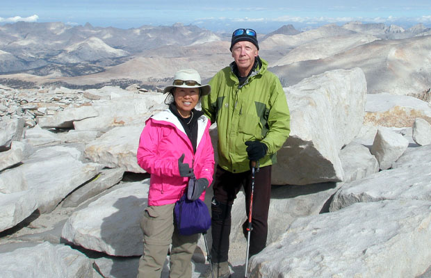 6 September: Jeanne and Peter standing on the 14,495' summit of Mt. Whitney
