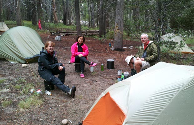 """Tent City"" for five hikers now we've been joined by Angela and Yvonne from Germany"