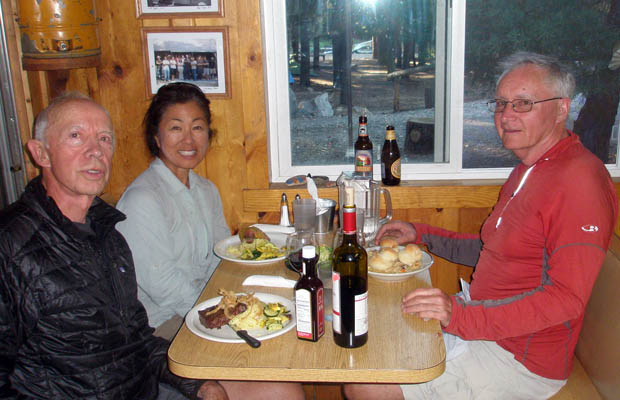 "Peter, Jeanne and Mike enjoying a ""real"" dinner at Vermilion Resort (VVR)"