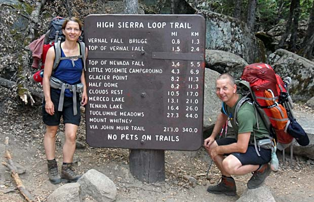 Yvonne and Manny beginning their JMT hike at Happy Valley