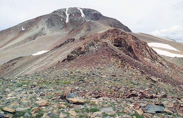 On the summit of the 12,000' McGee Pass, looking up the southest ridge of Red Slate Mtn.