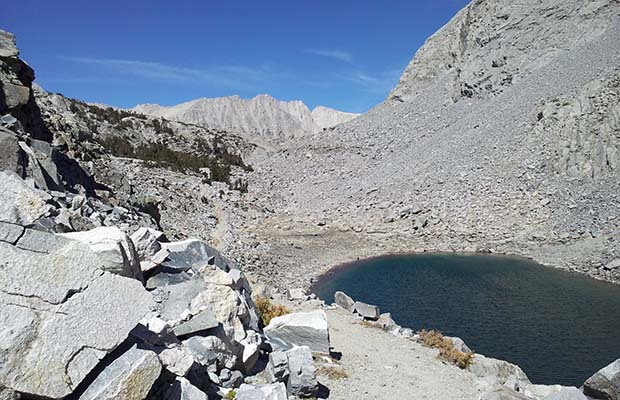 Looking northwest over Upper Morgan Lake to the 11,200' Morgan Pass.