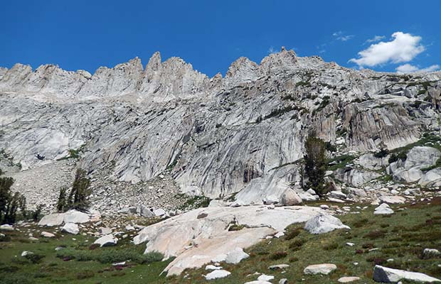 Looking up at Sawtooth Ridge from Burro Pass.