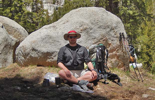 Johannes resting along the PCT section from Kerrick Meadow to the Bear Valley Trail.