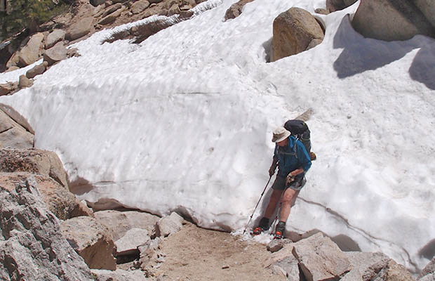 The last snow obstacle before reaching Peeler Lake.