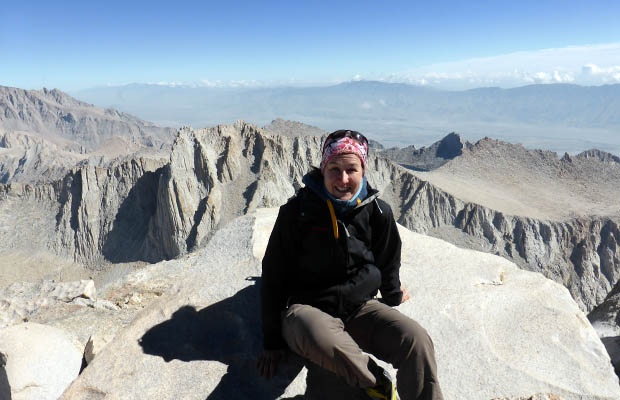 The goal is achieved ... Angela on the 14,495' summit of Mt. Whitney