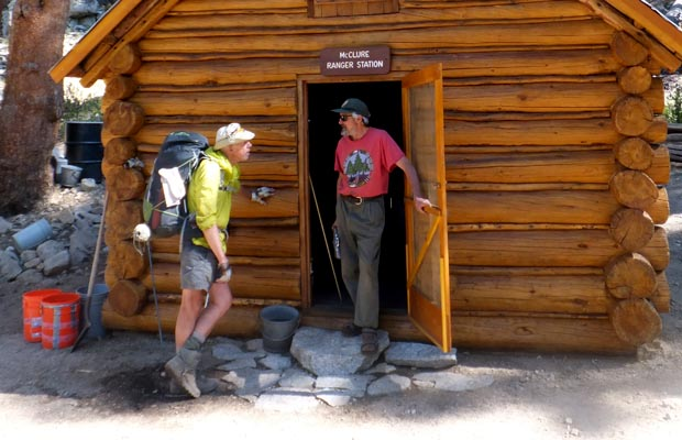 Peter chatting with Dario, the backcountry ranger at McClure Meadow
