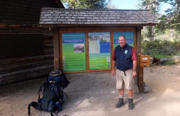 Rob at the Meeks Bay, Lake Tahoe trailhead at the beginning of his journey