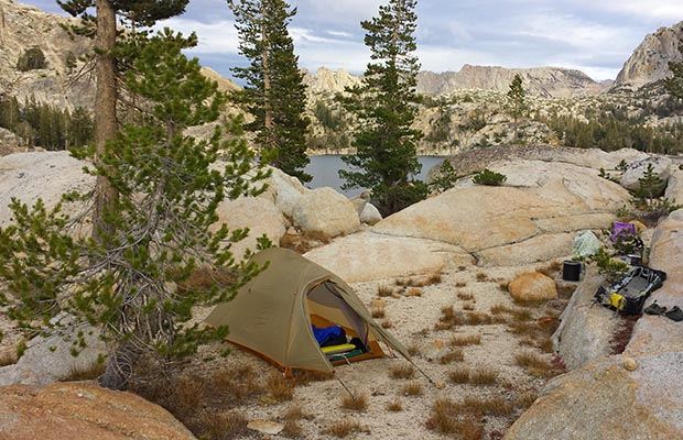 My campsite on Peeler Lake western shore on the evening of 26 September, 2014