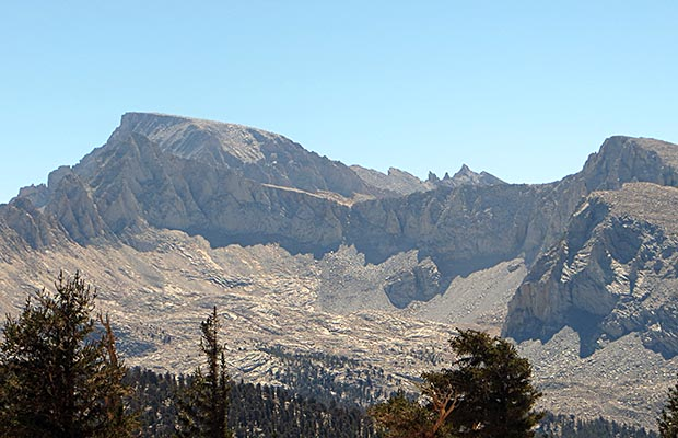 The northwestern flank of Mount Whitney, as seem from the Bighorn Plateau