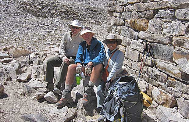 David, Peter and Jeanne resting at Muir Hut